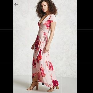 Faux flowers pink maxi dress